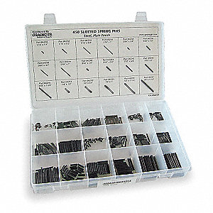 Carbon Steel Spring Pin Assortment with Plain Finish&#x3b; Number of Pieces: 450