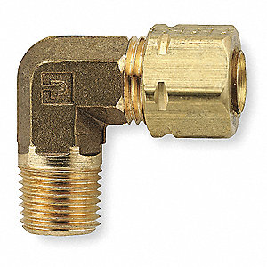 Elbow, 90,Brass,CompxM,1/4Inx3/8In,PK10