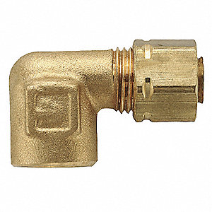 "Brass Compression x FNPT Female Elbow, 90°, 3/8"" Tube Size"