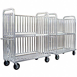Multi Unit Trolley Stock Cart, 1000 lb. Load Capacity, (4) Swivel Caster Type, Aluminum