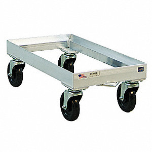 "28"" x 13-3/4"" x 9"" Aluminum Food Service Dolly with 300 lb. Load Capacity, Silver"