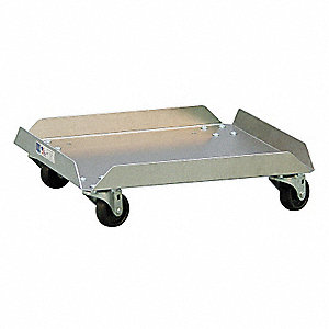 "21"" x 21"" x 6"" Aluminum Food Service Dolly with 100 lb. Load Capacity, Silver"
