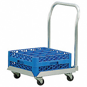 "23"" x 21"" x 32"" Aluminum Food Service Dolly with 100 lb. Load Capacity, Silver"