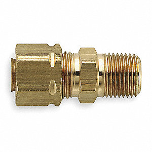 "Brass Compression x MNPT Male Connector, 1/2"" Tube Size"