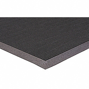 Black Rubber, Entrance Mat, 3 ft. Width, 5 ft. Length