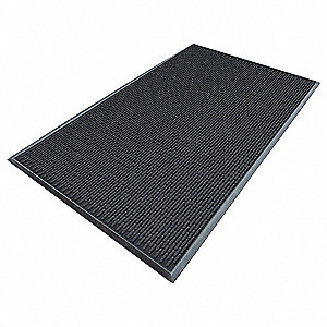 Black Molded Rubber, Entrance Mat, 3 ft. Width, 5 ft. Length