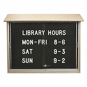 "Letter Board Outdoor Enclosed Bulletin Board, Vinyl, 40""H x 52""W, Sand"