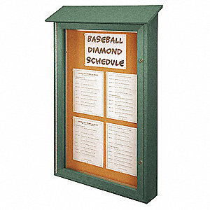 "Push-Pin Outdoor Enclosed Bulletin Board, Natural Cork, 48""H x 32""W, Woodland Green"