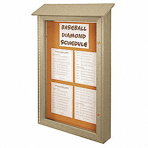 "Enclosed Bulletin Board,Tack,34""x47"""