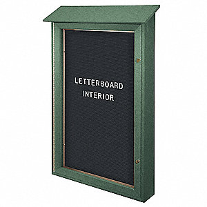 "Letter Board Outdoor Enclosed Bulletin Board, Vinyl, 48""H x 32""W, Woodland Green"