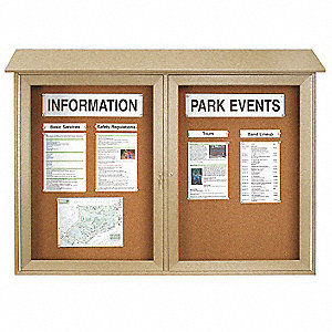 "Outdoor Enclosed Bulletin Board, Tack, Sand Board Color, 45"" Width, 36"" Height"