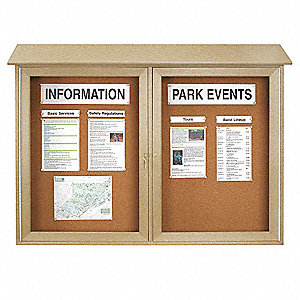"Push-Pin Outdoor Enclosed Bulletin Board, Natural Cork, 40""H x 52""W, Sand"
