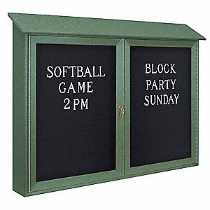 "Letter Board Outdoor Enclosed Bulletin Board, Vinyl, 30""H x 45""W, Woodland Green"