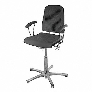 "Black Polyurethane Task Chair 16-3/4"" Back Height, Arm Style: Fixed"
