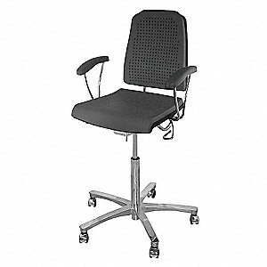 "Task Chair,Poly,Black,22"" to 29"" Seat Ht"