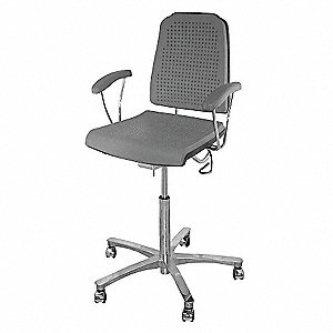 "Gray Polyurethane Task Chair 15"" Back Height, Arm Style: Fixed"