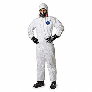 Hooded Disposable Coveralls with Elastic Cuff, White, 4XL, Tyvek®