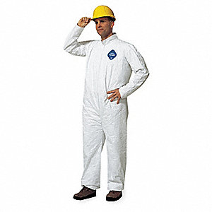 Collared Disposable Coveralls with Open Cuff, White, 4XL, Tyvek®