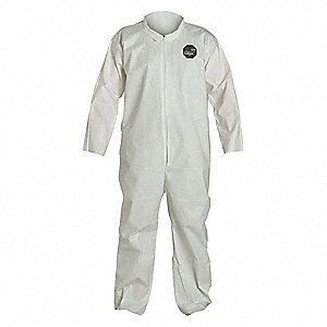 Collared Disposable Coveralls with Open Cuff, White, M, ProShield® 60