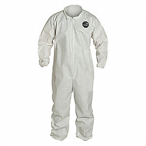Collared Coverall,Elastic,White,4XL,PK25