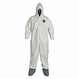 Hooded Coverall w/Boots,White,2XL,PK25