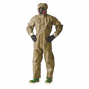 Hooded Chemical Resistant Coveralls with With Attached Gloves Cuff, Tychem® 5000 Material, Tan, 2XL