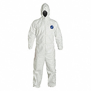 Hooded Chemical Resistant Coveralls with Elastic Cuff, White, 5XL, Tyvek® 400