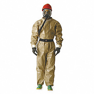 Collared Chemical Resistant Coveralls with With Attached Gloves Cuff, Tan, 3XL, Tychem® CPF 3