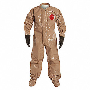 Collared Chemical Resistant Coveralls with With Attached Gloves Cuff, Tan, M, Tychem® 5000