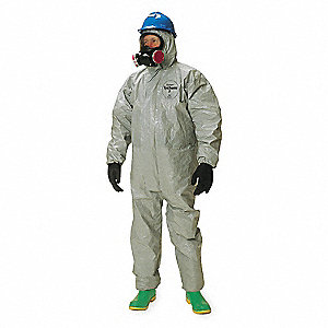 Hooded Chemical Resistant Coveralls with Elastic Cuff, Gray, XL, Tychem® F