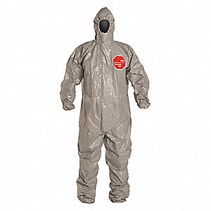 Hooded Chemical Resistant Coveralls with Elastic Cuff, Gray, 4XL, Tychem® 6000