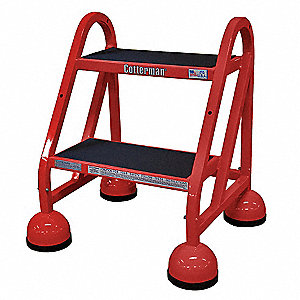 "Steel Rolling Step, 22"" Overall Height, 450 lb. Load Capacity, Number of Steps: 2"