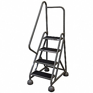 "4-Step Rolling Ladder, Rubber Mat Step Tread, 66"" Overall Height, 450 lb. Load Capacity"