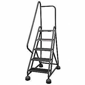 "5-Step Rolling Ladder, Rubber Mat Step Tread, 75"" Overall Height, 450 lb. Load Capacity"