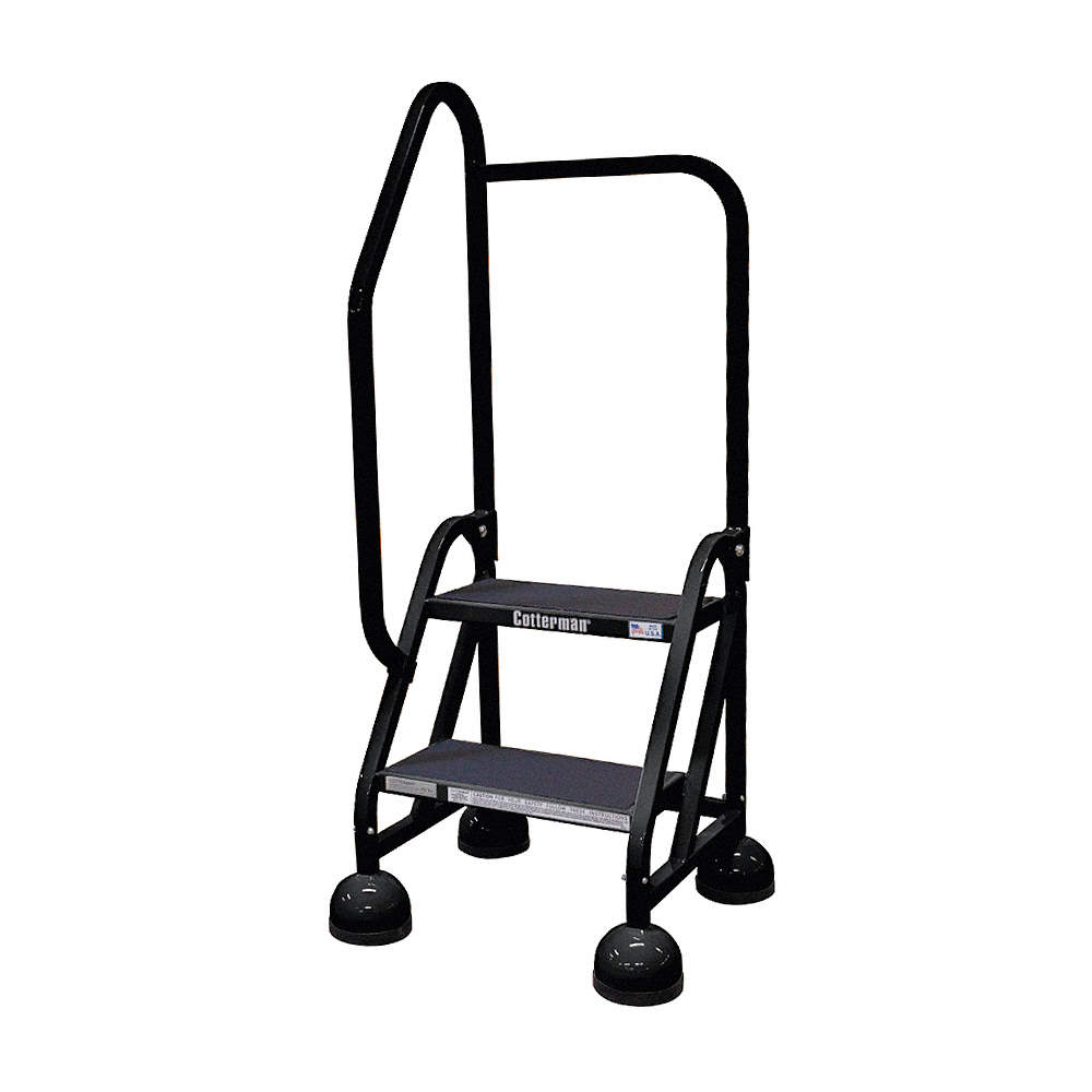 Enjoyable 2 Step Rolling Ladder Antislip Vinyl Step Tread 48 Overall Height 450 Lb Load Capacity Customarchery Wood Chair Design Ideas Customarcherynet