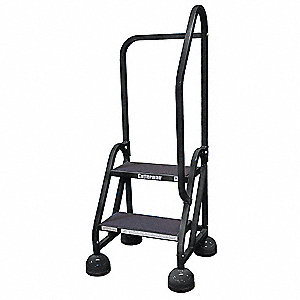 "2-Step Rolling Ladder, Rubber Mat Step Tread, 48"" Overall Height, 450 lb. Load Capacity"
