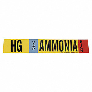 Ammonia Pipe Marker,HG,1 to 2-1/2In,PK4