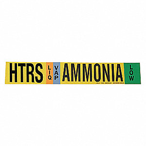 "Ammonia Liquid/Vapor Pipe Marker, Fits Pipe O.D. 2-1/2 7-7/8"", Low Pressure Level, HTRS, 1 EA"