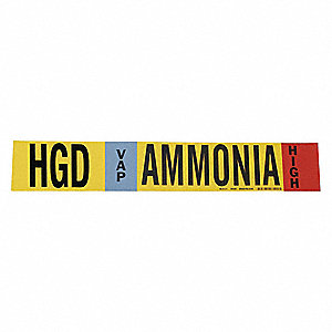 "Ammonia Vapor Pipe Marker, Fits Pipe O.D. 1-1/2 2-3/8"", High Pressure Level, HGD, 1 EA"