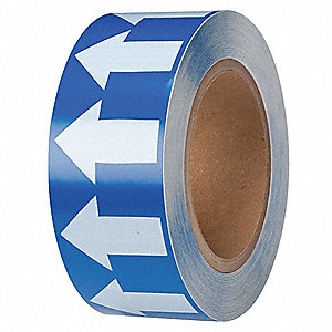 "Arrow Tape, White/Blue, Vinyl, 2"" x 90 ft."