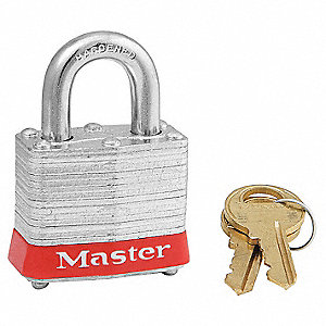 Red Lockout Padlock, Alike Key Type, Steel Body Material, 3 PK