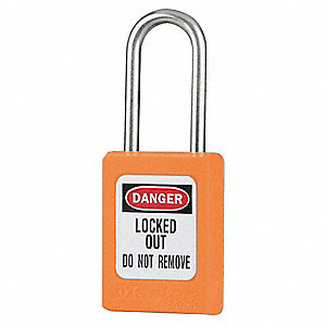 Orange Lockout Padlock, Different Key Type, Master Keyed: No, Thermoplastic Body Material