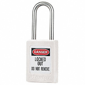 White Lockout Padlock, Alike Key Type, Thermoplastic Body Material