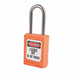 Orange Lockout Padlock, Alike Key Type, Thermoplastic Body Material