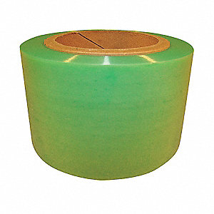 "Stretch Wrap, Hand Dispensed, 1-Side Cling, Standard, 3"" x 1000 ft., Gauge: 60, Green"