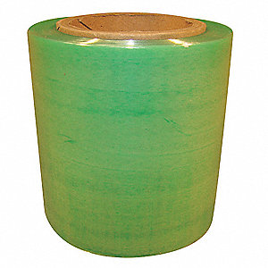 "Stretch Wrap, Hand Dispensed, 1-Side Cling, Standard, 4"" x 650 ft., Gauge: 120, Green"