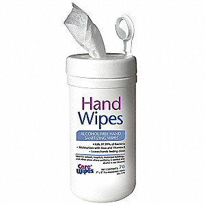 "7"" x 8"" Soapy Fragrance Hand Sanitizer Wipes, 70 Wipes per Container, 1 EA"