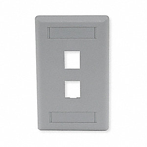 Gray Wall Plate, Plastic, Number of Gangs: 1, Cable Type: Flush Mount