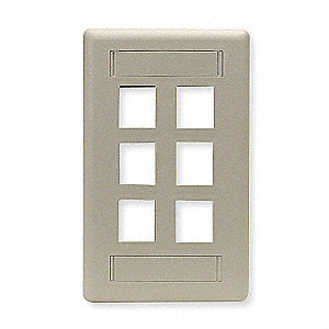 Ivory Wall Plate, Plastic, Number of Gangs: 1, Cable Type: Flush Mount