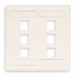 White Wall Plate, Plastic, Number of Gangs: 2, Cable Type: Flush Mount